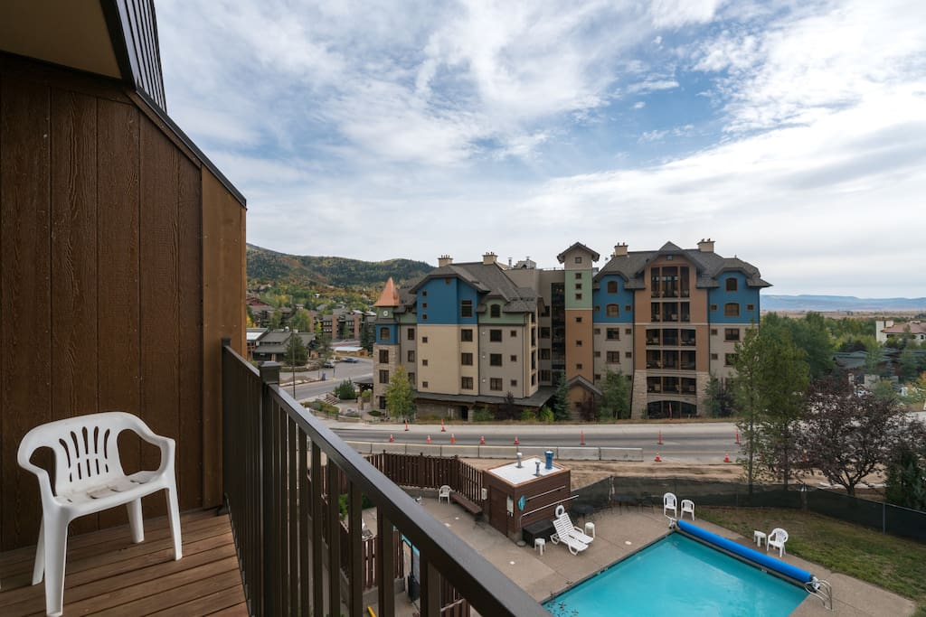 Take a dip in the shared pool right outside your condo