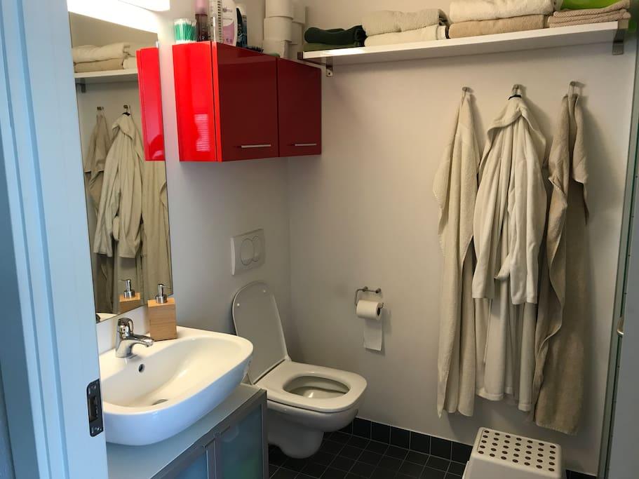 Badeværelse med bruseniche. Vaskesøjle bag døren.