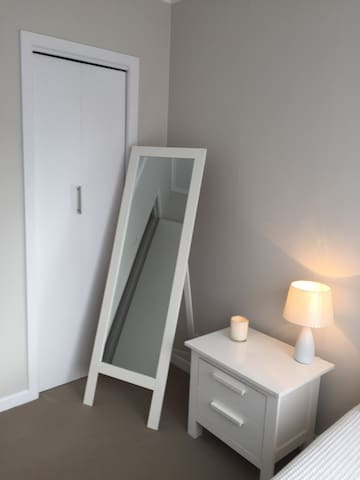 Mirror and wardrobe