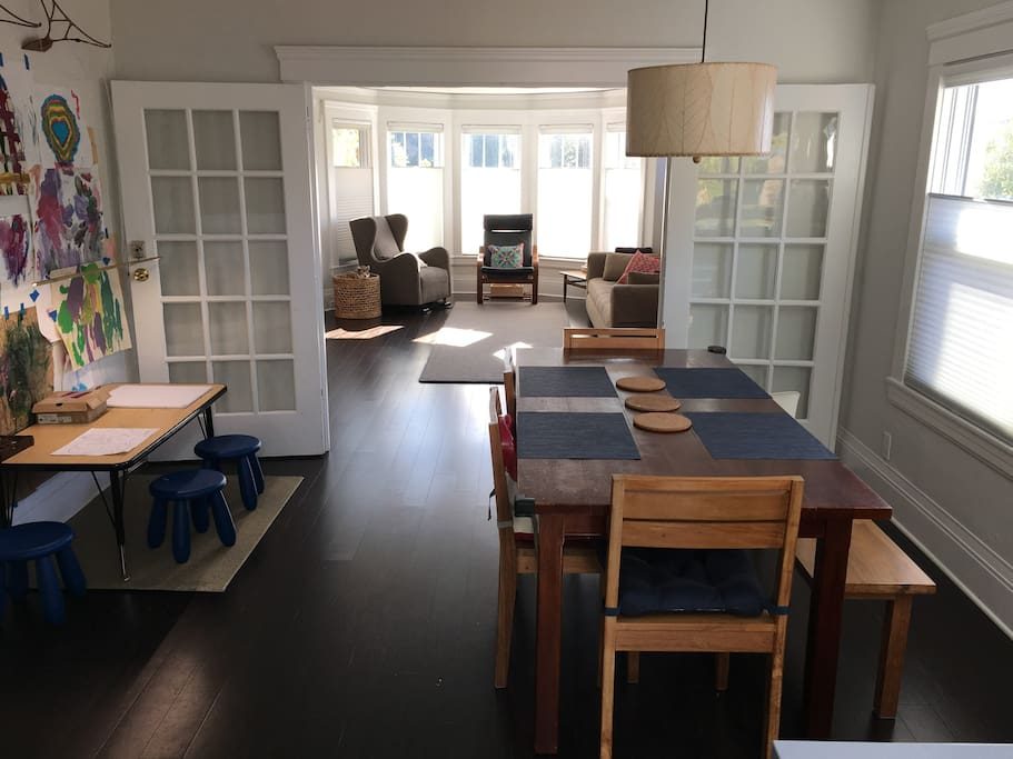 Dining room with adult and kids table