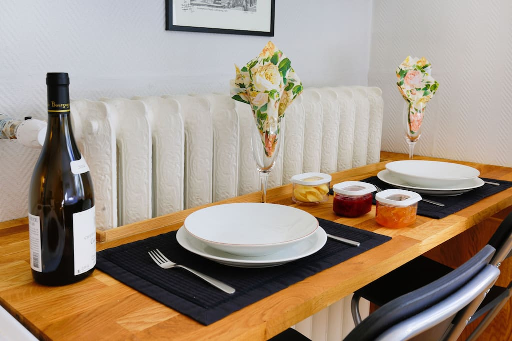 Enjoy breakfast or relax after a long day with a glass of wine and cook a meal.