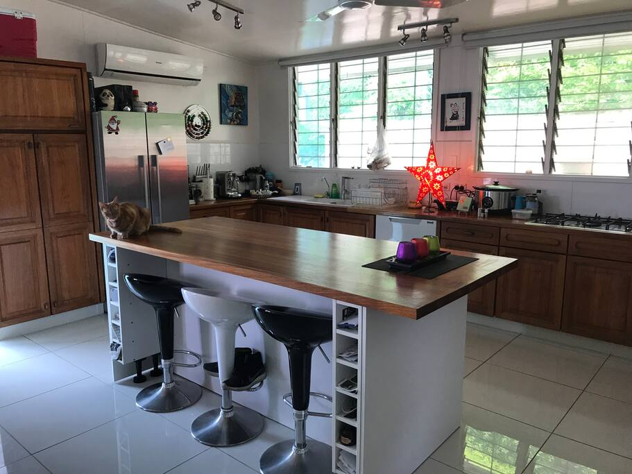 Bright open plan kitchen with all the necessities - Nespresso machine, Gas stove etc.