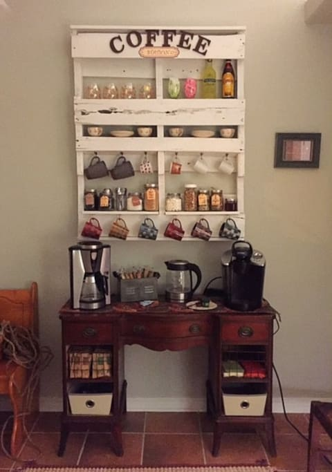 Coffee, Tea, Cocoa, & Breakfast Station (Available & Stocked 24/7)