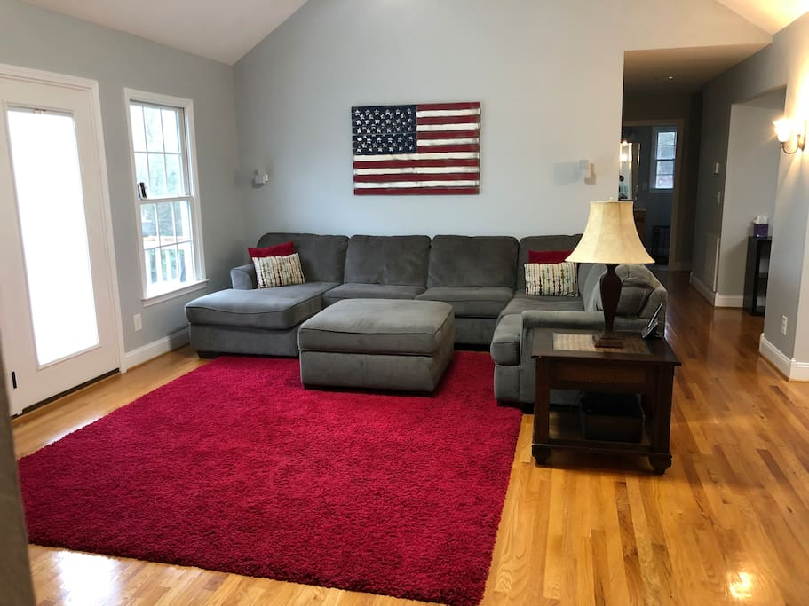 Living room with sectional couch.