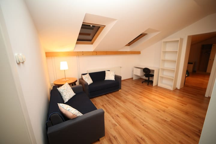Upper floor living room/bedroom with two single sofa beds. Interconnecting with second bedroom (theough the door on the right).