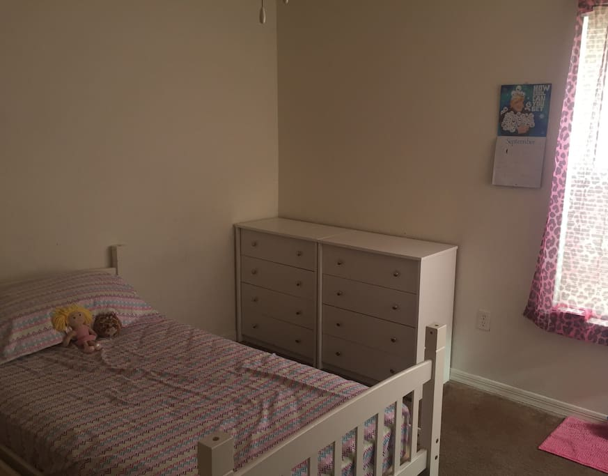 Bedroom with twin bed. Decor can be made gender neutral upon request.