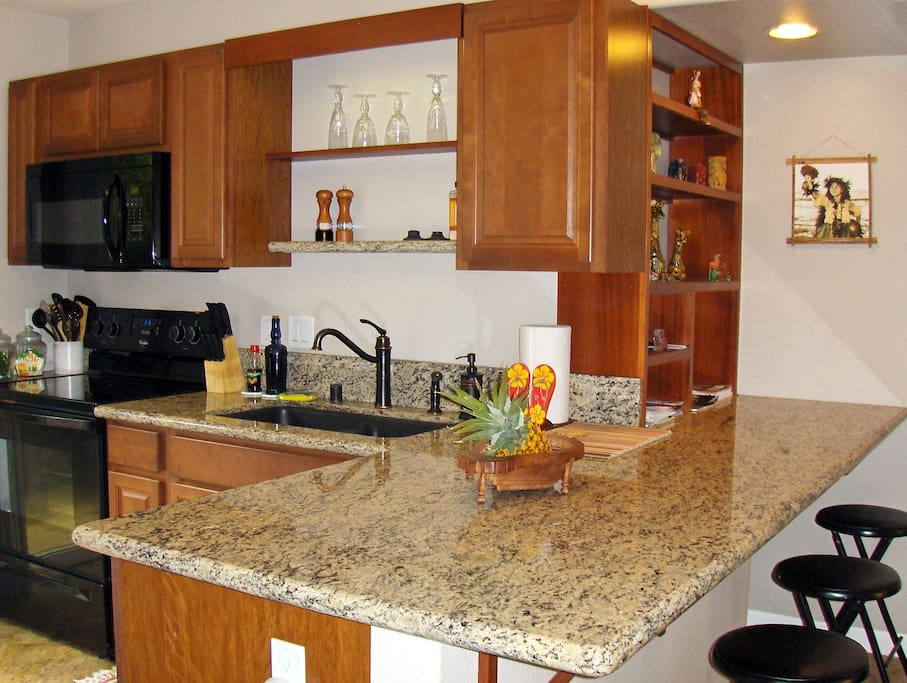 Full Kitchen, Range/Oven, Micro, Dishwasher,  Side by side Refrigerator, granite Counter top