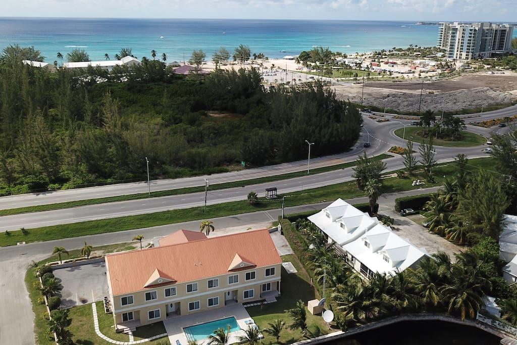 Aerial shot of condo and beach