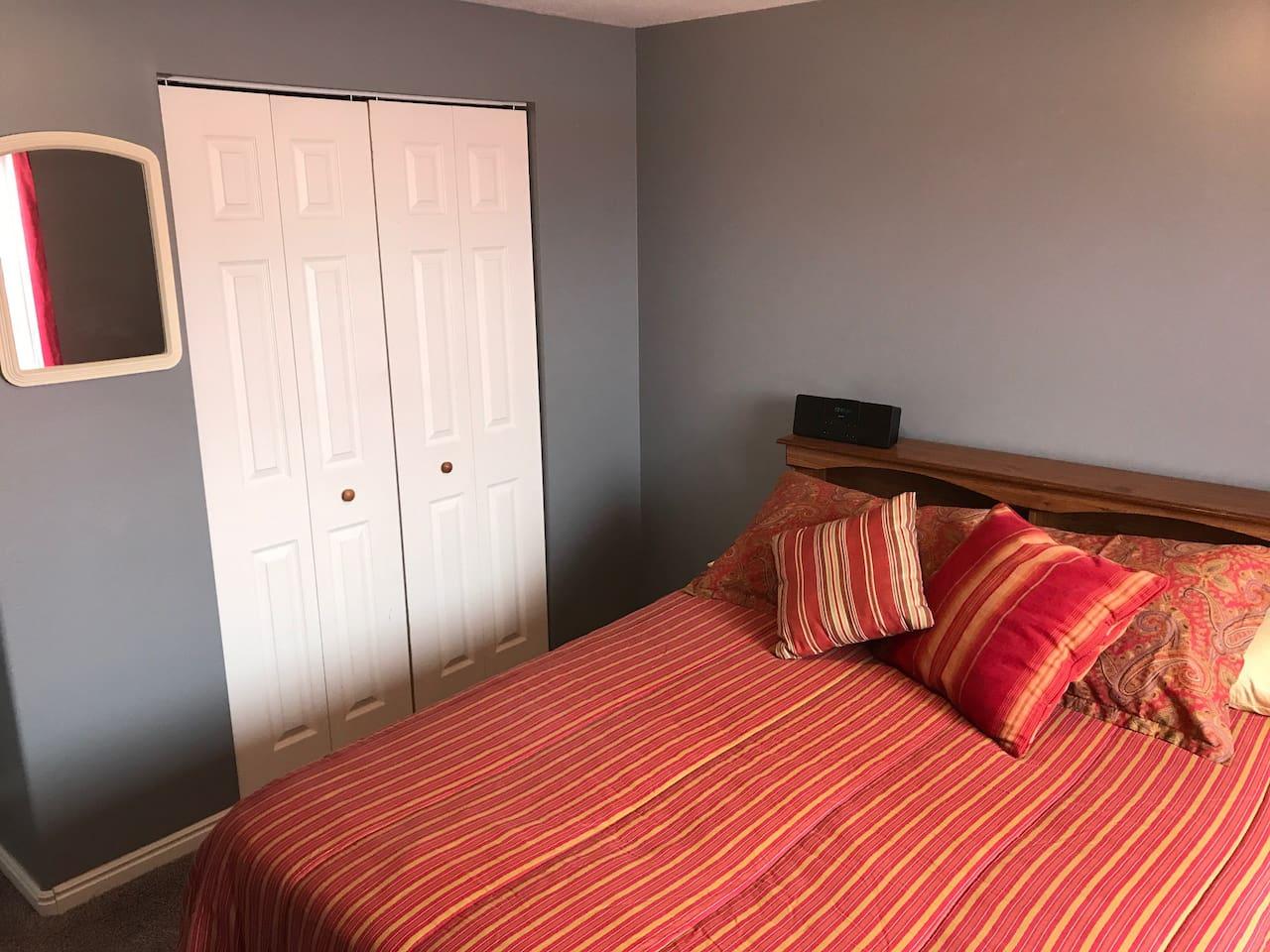 Red Room with queen memory-foam mattress