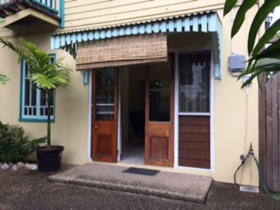 Front door to the 1 bedroom apartment.