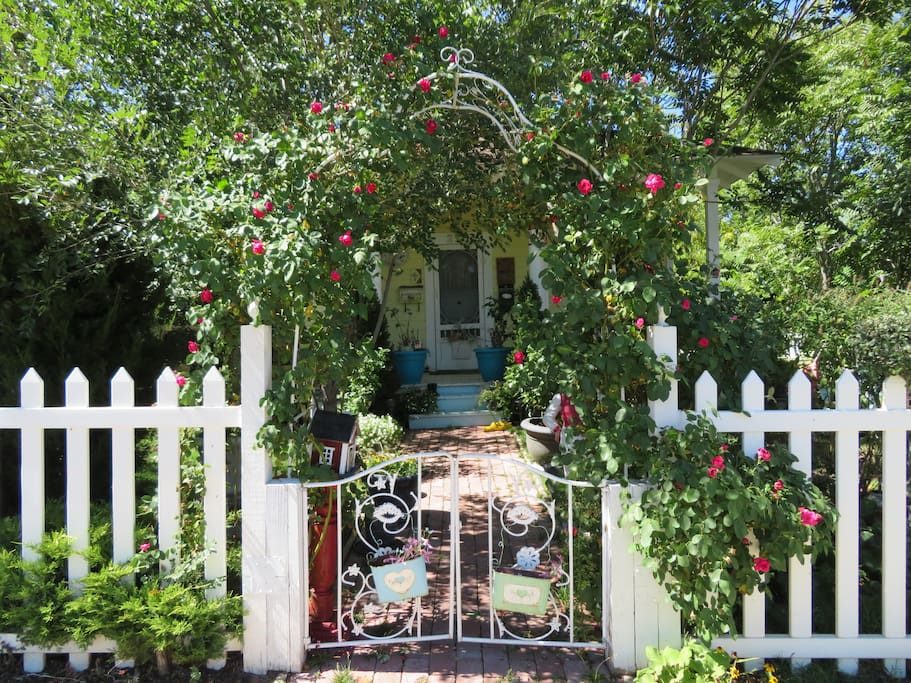 Come inside by entering through our antique gate and surrounded by flowers, trees, grass, and lots of little this's and that's.