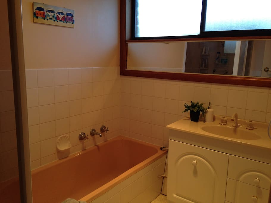 Neat and tidy, shared bathroom.