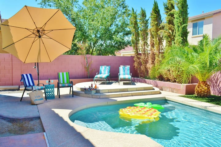 Pool floaties, Heated pool, and outdoor entertaining all in your private back yard space.