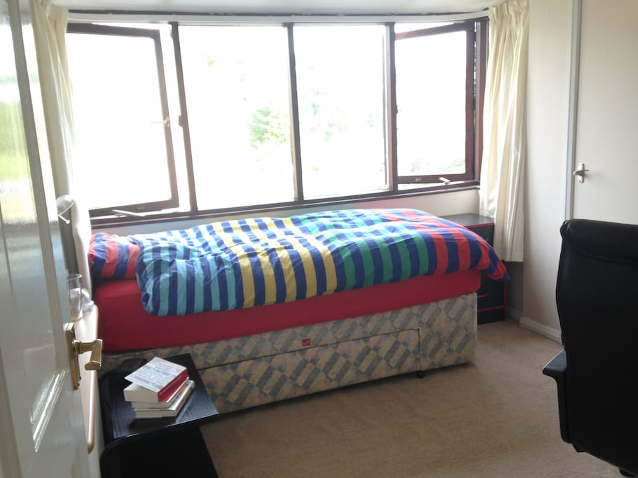 Jay's bedroom with space for a floor mattress