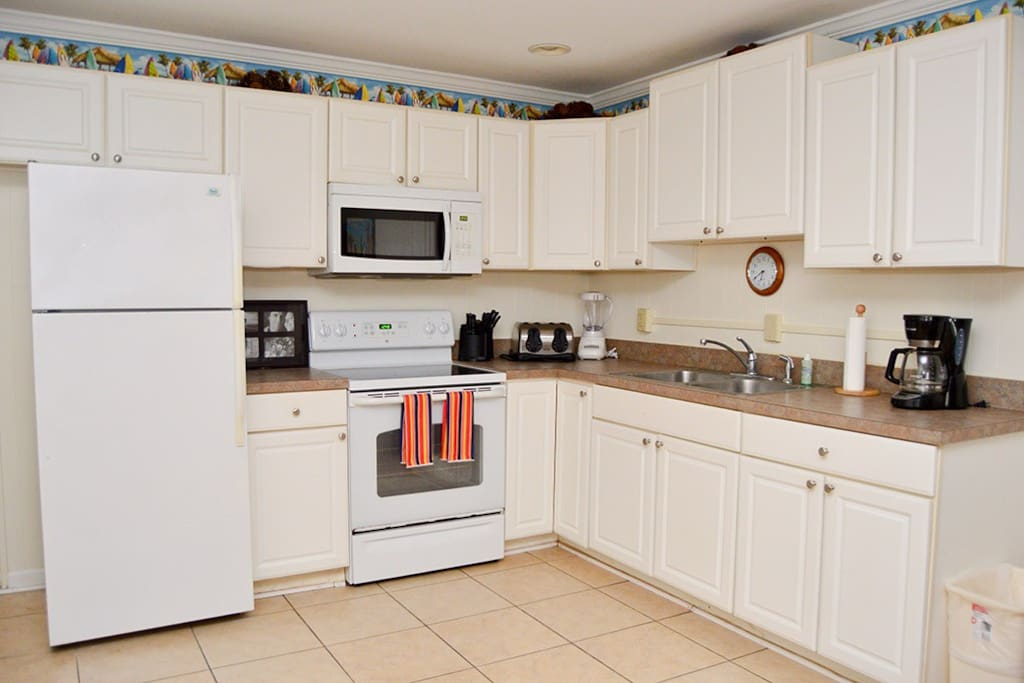 Full kitchen with everything needed to make you feel at home.