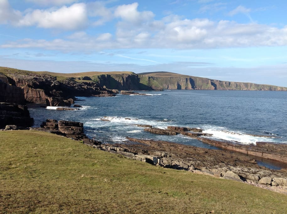 Nearby mighty cliff (300 m) to the west