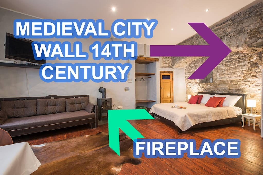 Unique apartment with built in Tallinn City Wall dated 14th century! The apartment is equipped with a fireplace with woods to make you warm and comfortable.