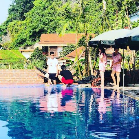 02 rooms Garden View with breakfast Free Pool&Bike