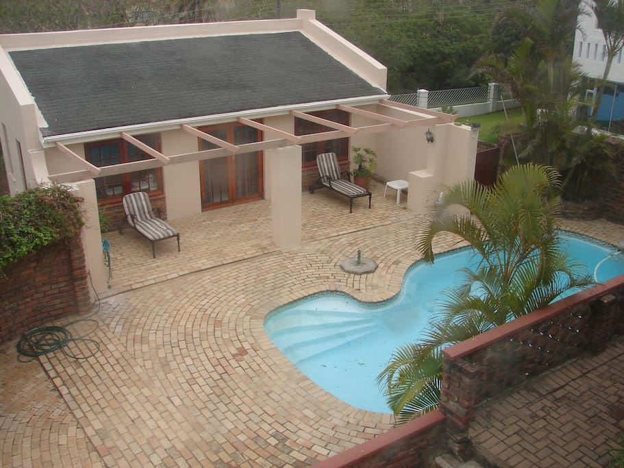 Guest flat next to pool taken from upstairs