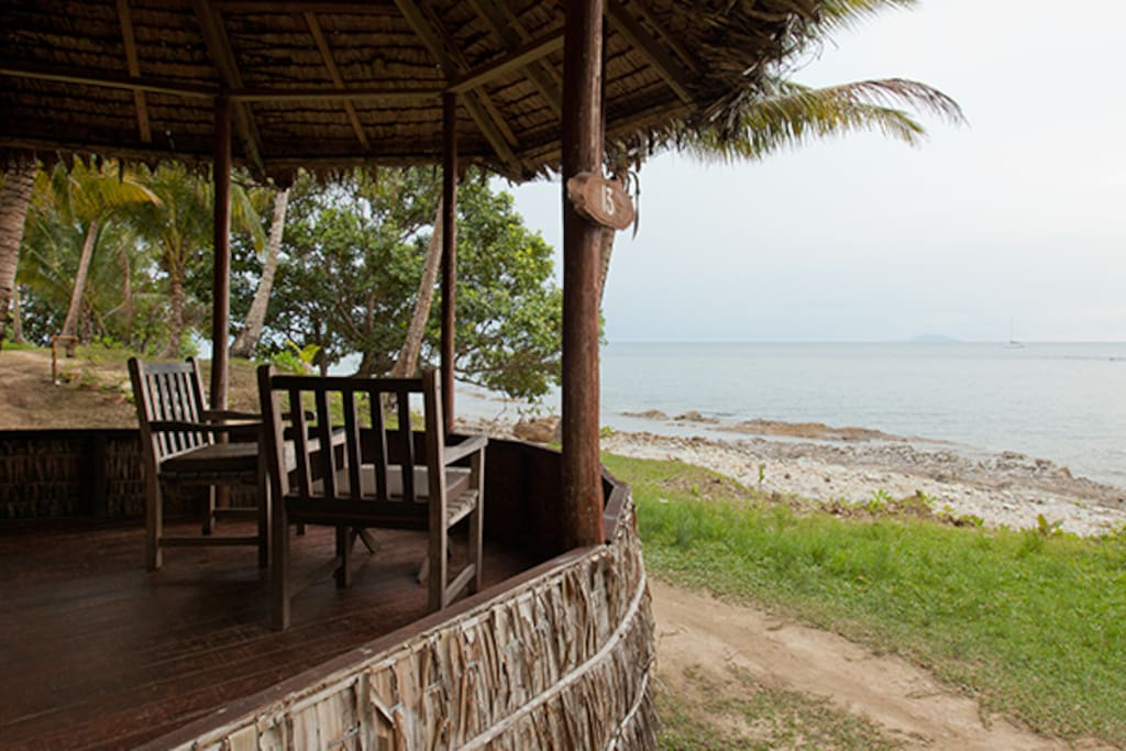 All Chalets include a covered balcony and beautiful sea view