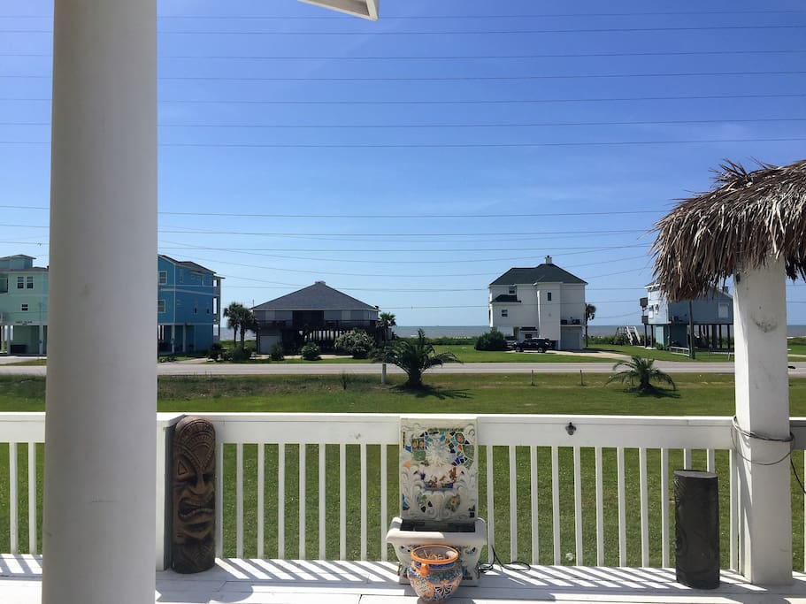 View of beach from deck.
