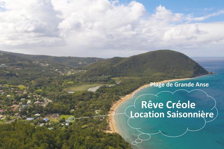 Gite+spa pieds dans l'Ô plage Grande Anse Deshaies