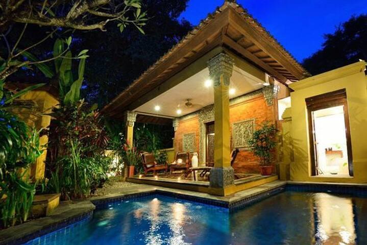 位于 Sanur Beach 的别墅,有一间卧室,私人游泳池