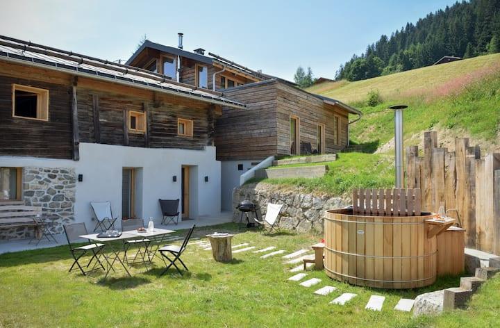 ♡ Chalet éco-design vue Mt Blanc & bain nordique ♡