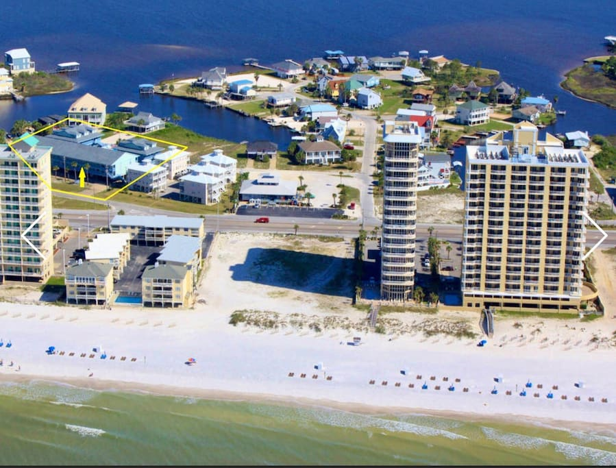 The condos circled in yellow on the left side in middle are where you will be staying!!
