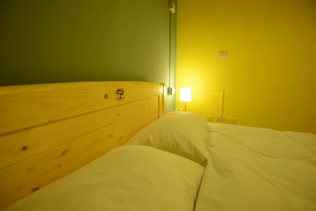 Our double bed room, all room coming with outlet plug, led lamp, comfortable mattress, comfy pillow.
