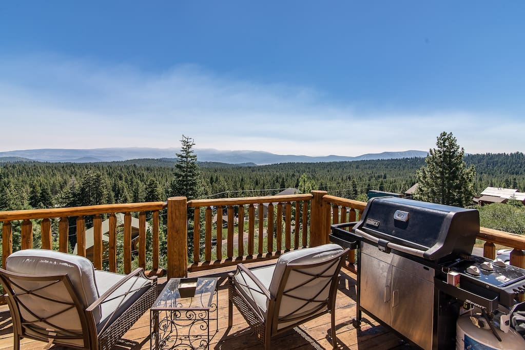 The balcony on the main floor has a grill and stunning views of North Lake Tahoe