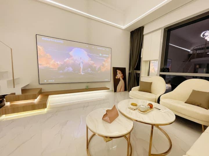 「Minsu-x」复式海景loft120寸激光电视/戴森/暖气全屋智能家居-市中心/苏宁广场/群光汇