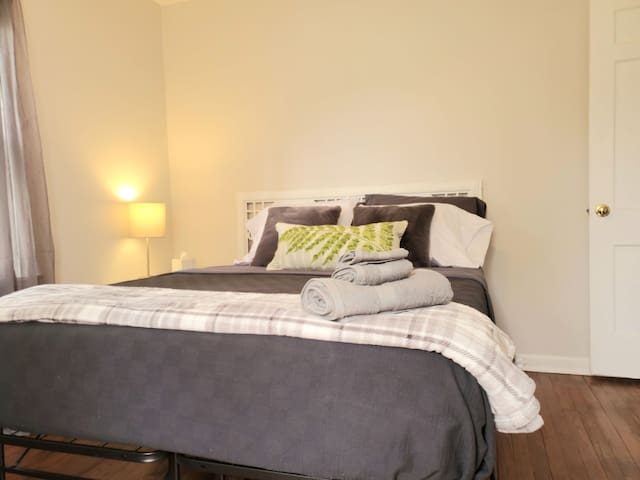 Master bedroom with new memory foam queen bed