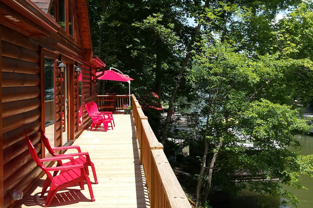 Long deck with chairs for morning coffee or sunbathing.