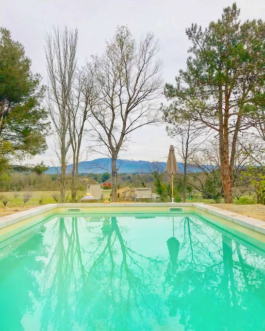 Our outdoor swimming pool with beautiful view of Mont Ventoux