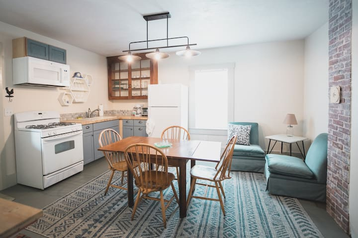 open kitchen and seating space