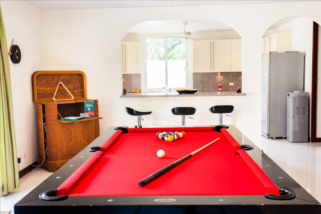 New pool table and game's cabinet