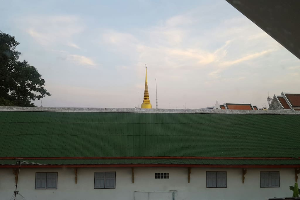 View of the first temple-based school in Thailand from our room