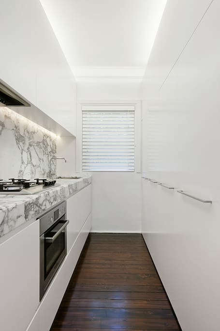 The newly renovated galley style kitchen with European appliances and Italian marble.