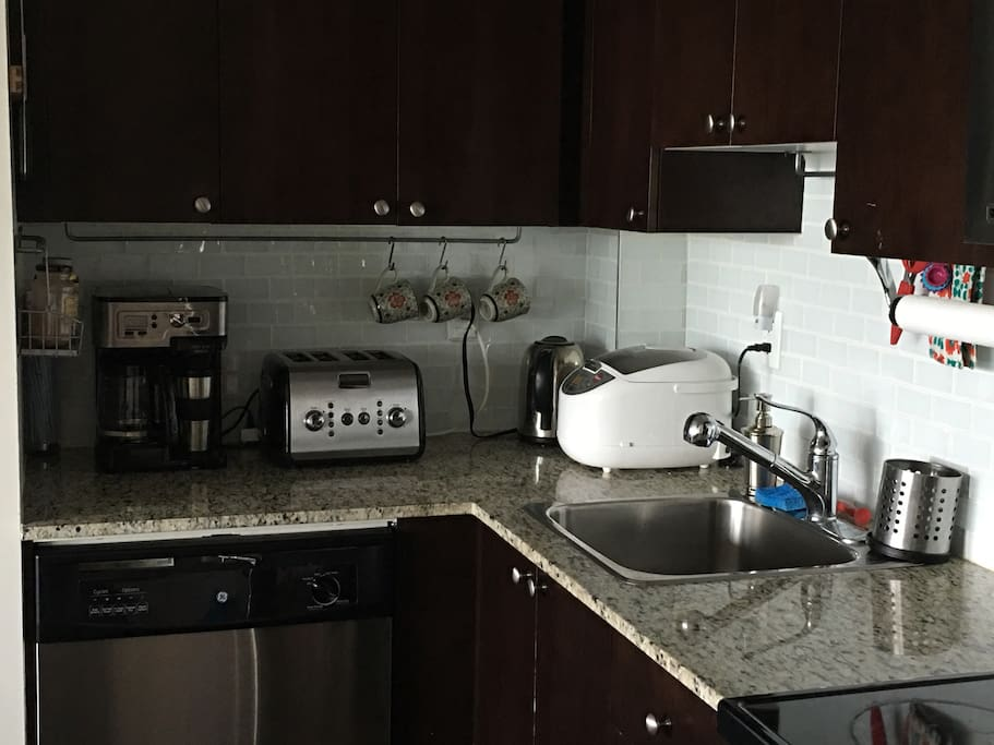 Coffeemaker for one or for many, toaster, electric kettle and rice cooker.