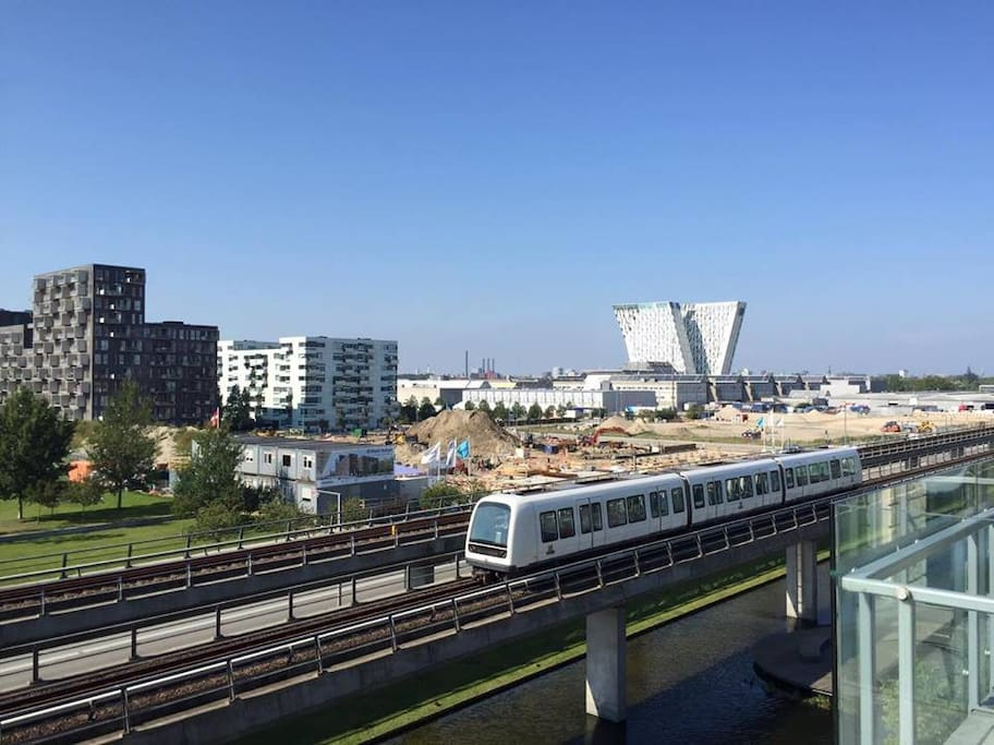 View over Ørestad and Bella centeret from the kitchen