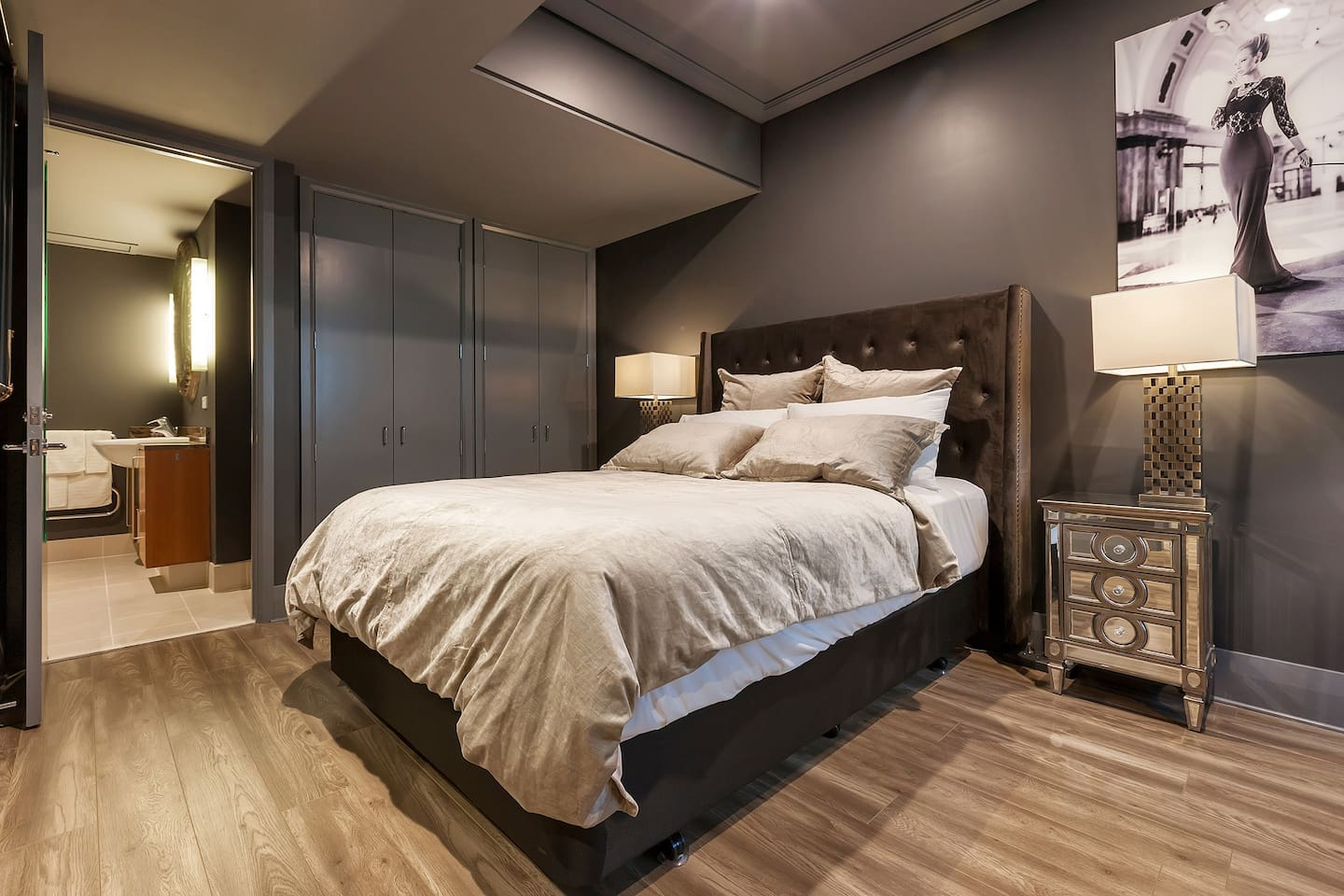 Beautiful big Queen bed with extra large duvet and comfortable pillows