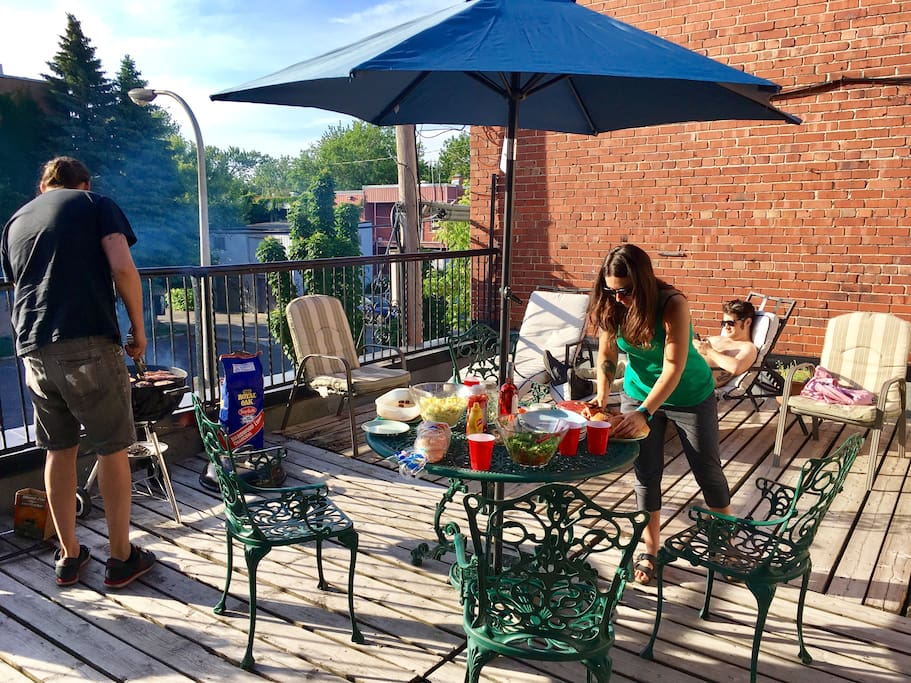 Our Terrace in the back. Enjoy a BBQ and some sun!