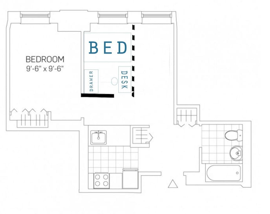 Floor plan of the space. A partition screen divides the living room.