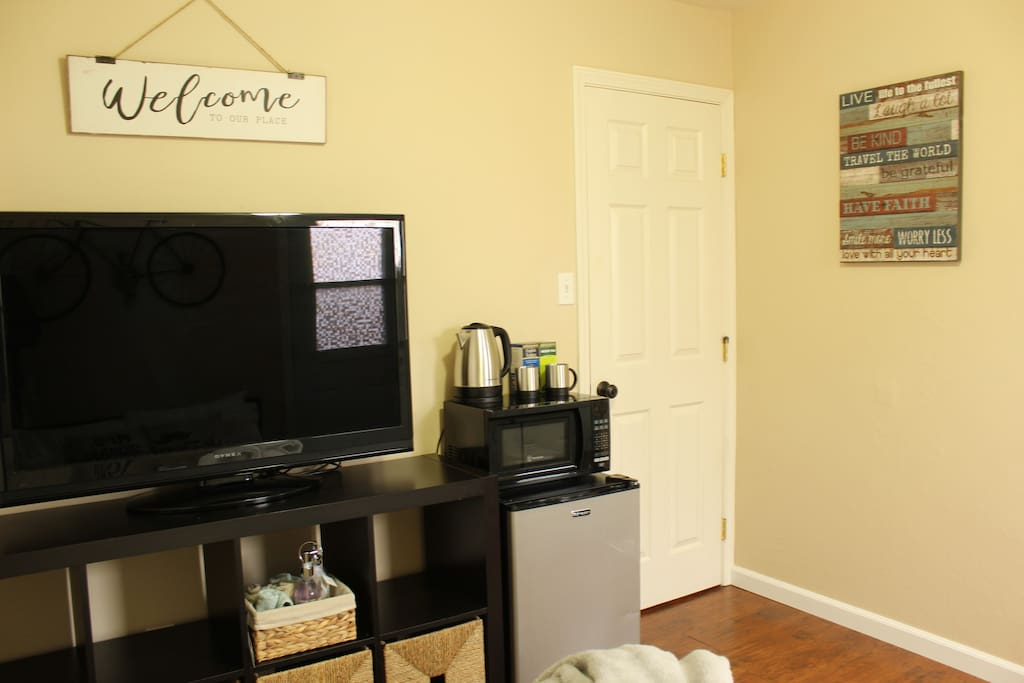 TV with Netflix. Entrance door to your dedicated private bathroom.
