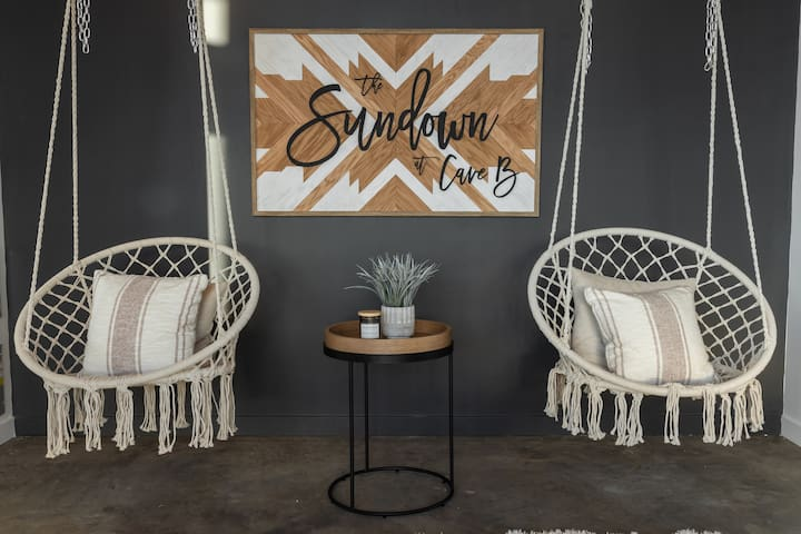 Swing chairs in living area