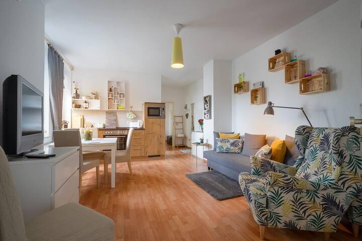 Eine wunderbar helle Wohnung, die keine Wünsche übrig läßt - mit Schlafcouch auf der man es aushalten kann.