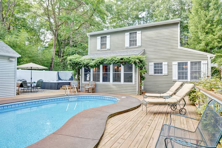 Pool Side: Tucked in the trees with a private swimming pool only a short drive to downtown or the beach