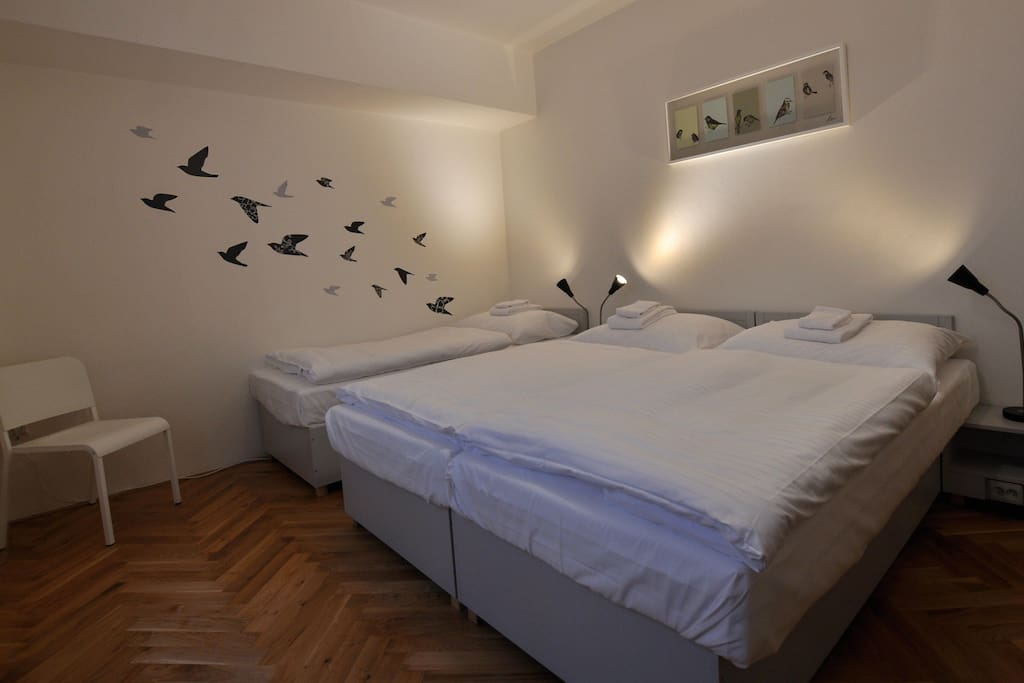Bedroom (3 flexible single beds). Good sleeping is our priority.