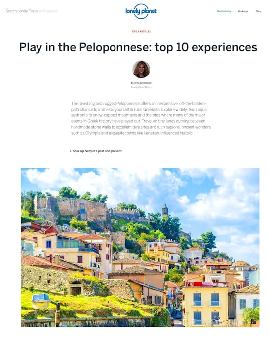 LONELY PLANET ARTICLE PELOPONNESE BEST DESTINATION 2016 www.lonelyplanet.com/greece/the-peloponnese
